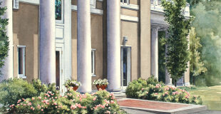 Sanborn House in Spring, watercolor donated by Winchester artist, Carolyn Latanision