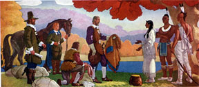 The Squaw Sachem Sells Her Land to Governor John Winthrop, mural in Winchester Public Library